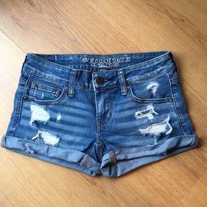 AEO Cuffed Distressed Jean Shorts